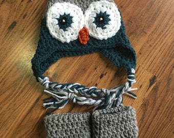 Owl Hat and Booties Photo Prop