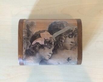 Decoupage card box, Wooden box, Teak wood box, Treasury box , Name card box, Storage box, Jewelry box, Keepsake box, Vintage