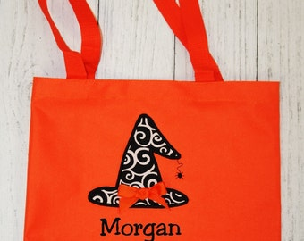 Monogrammed Whitch Hat  Halloween Tote