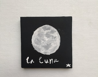 2x2 Black canvas painting - La Luna - room decoration
