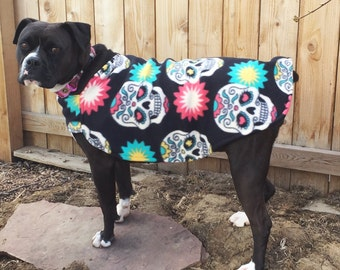 Sugar skull fleece dog coat large breed pit bull boxer