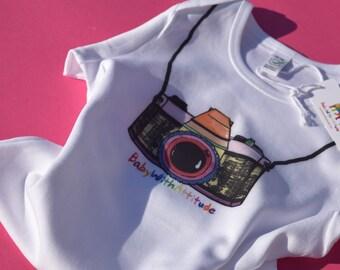 Organic Fair-Wear Low Carbon Onesie - Vintage Camera Design