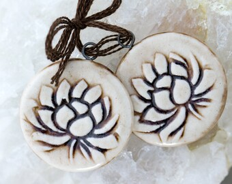 Lotus Awakening porcelain pendants|Iron wash and clear glaze