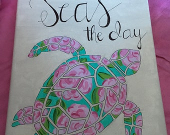 "Lily Pulitzer ""Seas the day"" Turtle Canvas"