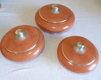 Decoration 3 round boxes in tadelakt ocher