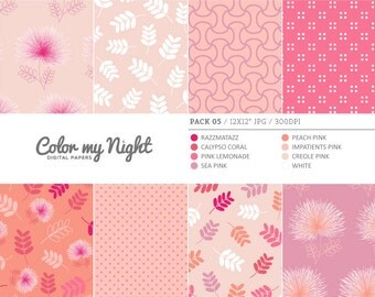 Digital Paper Pink 'Pack05' Flowers, Leaves, Dots & Geometrical Scrapbook Backgrounds for Invitations, Scrapbooking, Crafts...