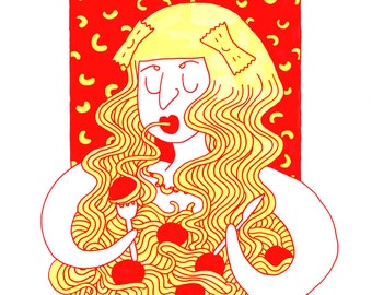 Pasta Lady Art Print