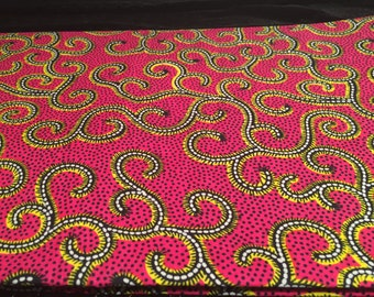 Pink and Yellow African Print Fabric