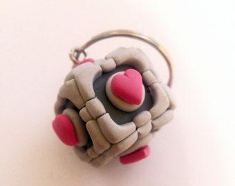 Polymer Clay Companion Cube Keychain from Portal