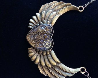 Steampunk Flying Heart With Wings Necklace, watch gears and parts on silver and gold glitter WH01