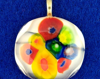 Round Clear Fused Glass Pendant Necklace  Gift for Her Pendant #16