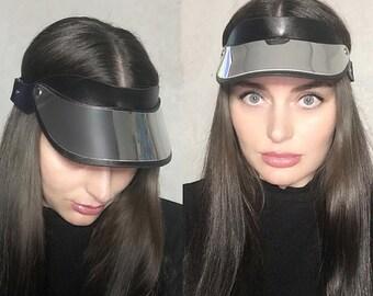 Lady Leather Visor Blazer, Leather Visor Cap Hat Handmade,