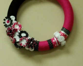 Pink and Black Felt and Yarn Wreath