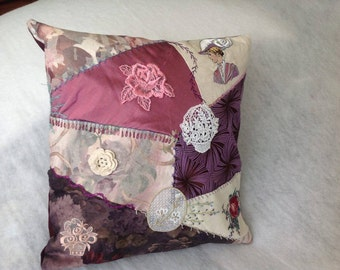 Quilted, Hand Embroidered Decorative Pillow Case