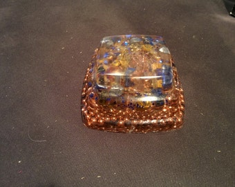 Blue & Gold 3 tiered orgonite