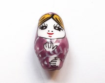 1 pc Handpainted mauve matriochka ceramic bead 22 mm