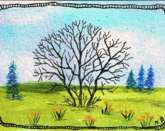 "ATC or ACEO Original Acrylic Mixed Media Painting ""Copse"""