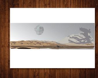 Star Wars Art print, Star Wars Death Star Scene Art