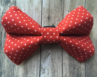 Pet Bow Tie | Red and White Dots