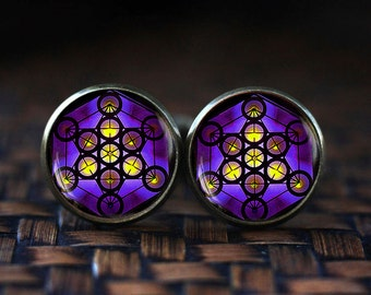 Metatron's Cube cufflinks, Metatron's Cube gift, Sacred geometry cufflinks, Geometric cufflinks, Jewelry for men, men's cufflinks