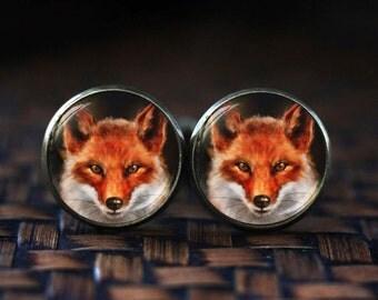 Red Fox cufflinks, Fox cufflinks, Vixen Wildlife cufflinks, fox art jewlery, woodland, red fox, Nature cufflinks