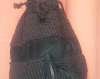 Bag boho crochet & leather