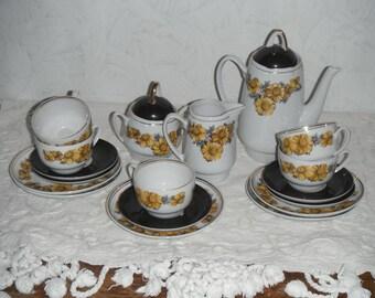 Vintage  porcelain coffee set,service. Cups, Saucers ,Cake Plates ,sugar bowl,Coffee Pot,Creamer.Kitchen decor,soviet tea coffee set