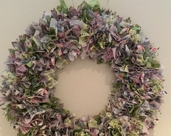 Handmade Full Fabric Wreath in shades of greens, purples and pinks
