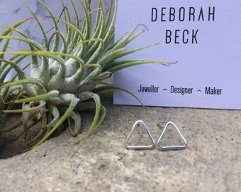 Geometric, Triangle stud earrings, sterling silver, Minimal, contemporary, simple, polished,