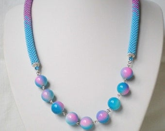 Crochet beaded necklace Knitted beaded necklace Crochet necklace Beadwork Seed bead jewelry Beaded Rope Blue beads Blue necklace Melange
