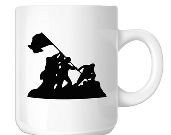Iwo Jima WWII Silhouette (SP-00095) 11 OZ Novelty Coffee Mug