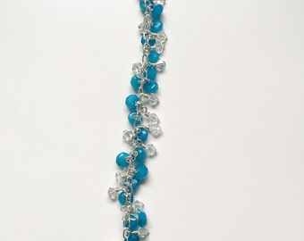 Aragonite and Swarovski Crystal bracelet