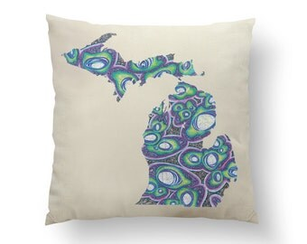 "16"" Lime Green & Purple Michigan State Pillow w/ Insert, Throw Pillow, State Art, Michigan Gift, Housewarming Gift, Map Pillow, Throw Pillow"