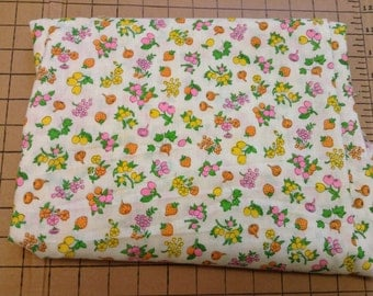 vintage cotton fabric with  fruits and veggies and flowers