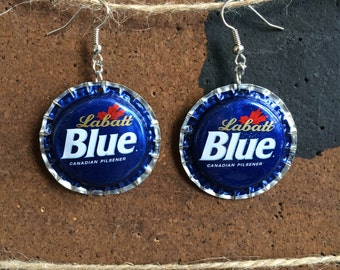 Labatt Blue Bottle Cap Earring