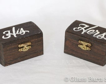 Hand Lettered Ring Boxes, His & Hers Ring Boxes, Handmade Ring Box, Ring Bearer Boxes, Wedding Ring Boxes, Wood Wedding Ring Boxes