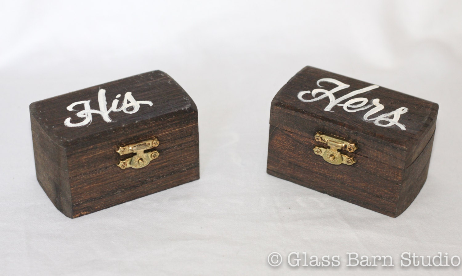 Hand lettered ring boxes his hers ring boxes handmade ring for Custom made ring box