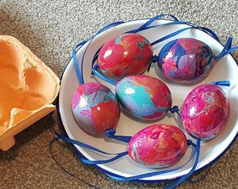 Easter eggs, Hand marbled, Real Hens eggs, x 6 in box, Easter display, Hanging