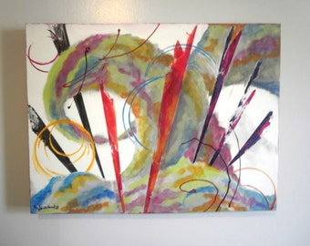 """Acrylic Painting, Abstract Canvas, """"Color Shards"""", 18X24, painting, colorful, joy"""
