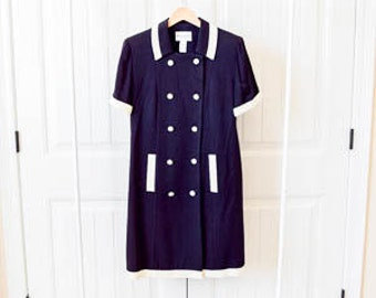 vintage women's double breasted pea coat short sleeve coat jacket navy sailor nautical 12 large 50's 50s 1950's