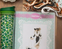 """Cross stitch embroidery kit """"Lady with the dogs""""  DIY skills, gift kit for crafters"""