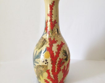 Midcentury Hand Decorated Vase by catalan artist Eusebio Diaz Costa