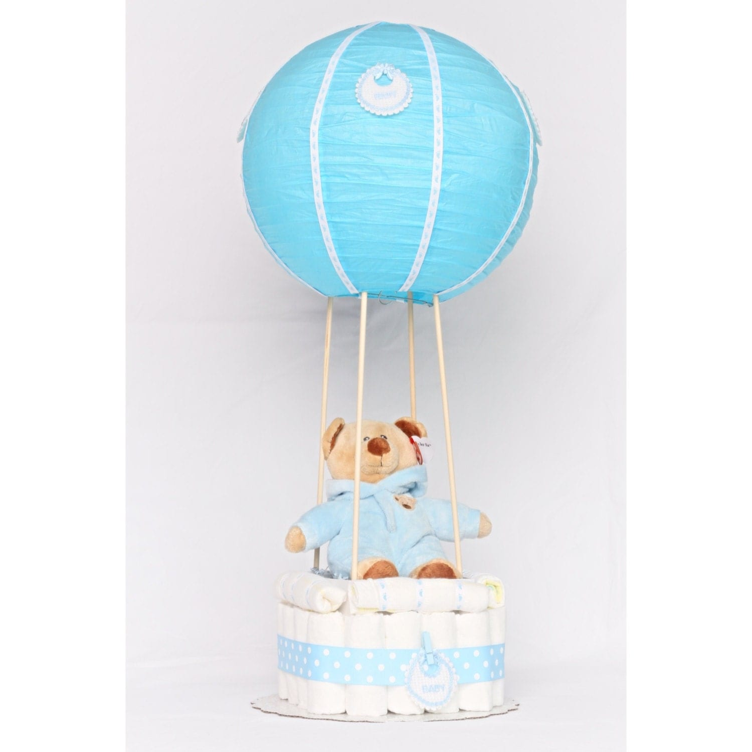 hot air balloon diaper cake by dapperbabycakes on etsy. Black Bedroom Furniture Sets. Home Design Ideas