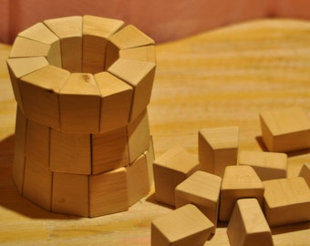 45 Handmade wooden blocks// Waldorf wooden toy //children wooden toys