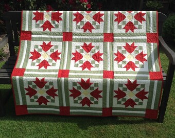Tulip Fields Handmade Quilt/throw.  FREE P & P