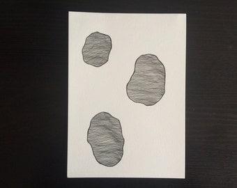 Floating Boulders // Minimalist Line Drawing Illustration