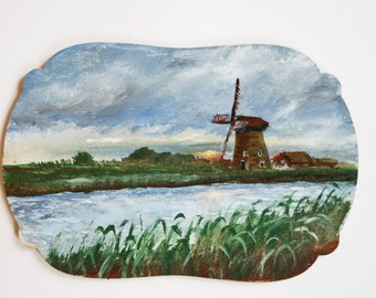 Dutch landscape - original acrylic painting on wood sky river mill