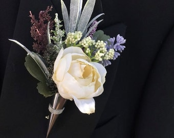 White Silk Ranunculus, Grey and Purple, Wedding Boutonniere, Boutonnieres for Wedding, Groom, Groomsmen Rustic, Buttonhole