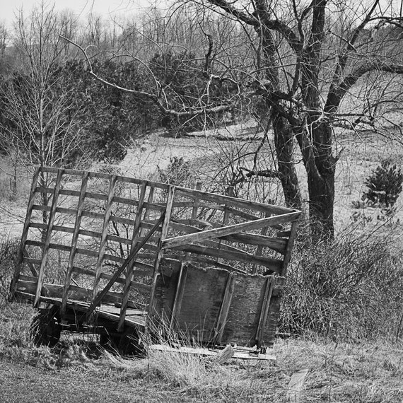 Wood Wagon Photograph - Black White Photography - Fine Art Print - Home Wall Decor - Farm House Decor - Rustic - Country - Wagon Pictures