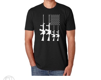 AR15 American Flag Military Partriotic T-Shirt